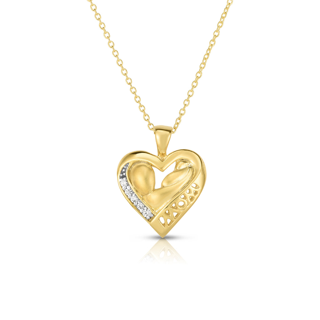 "14k Gold Diamond (0.05 Ct, G-H Color, SI2-I1 Clarity) Mother & Child Heart Pendant, 18"" Gold Chain"