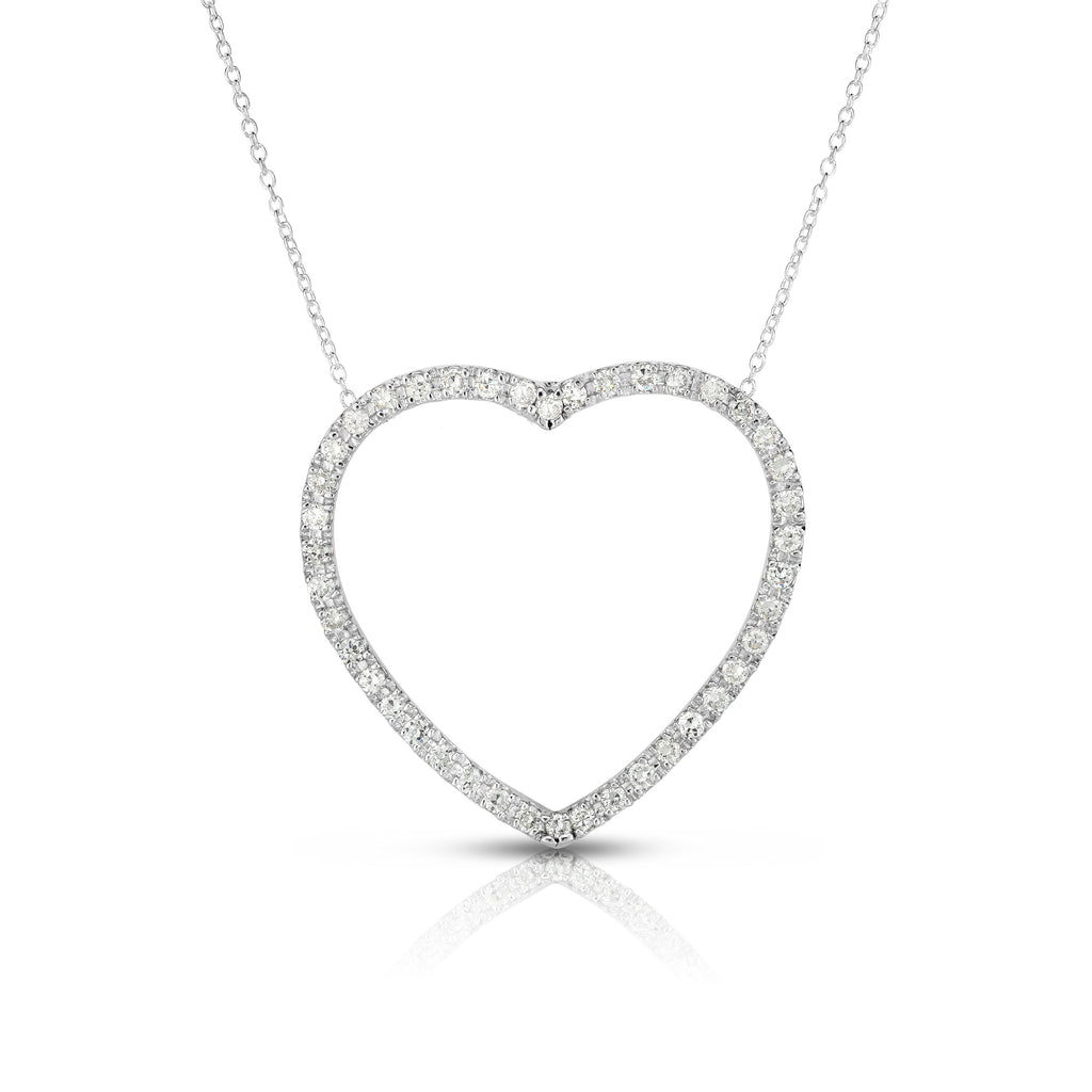 "14k Gold Diamond (0.90 Ct, G-H Color, SI2-I1 Clarity) Large Heart Pendant, 18"" Gold Chain"