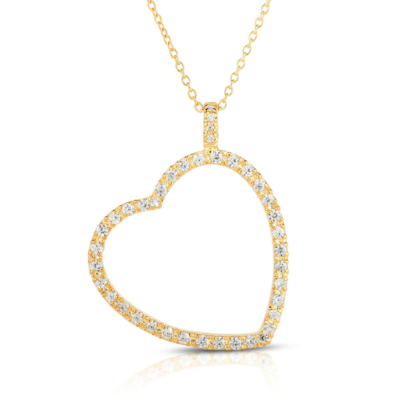 "14k White Gold Diamond (0.60 Ct, G-H Color, SI2-I1 Clarity) Heart Pendant, 18"" Gold Chain"