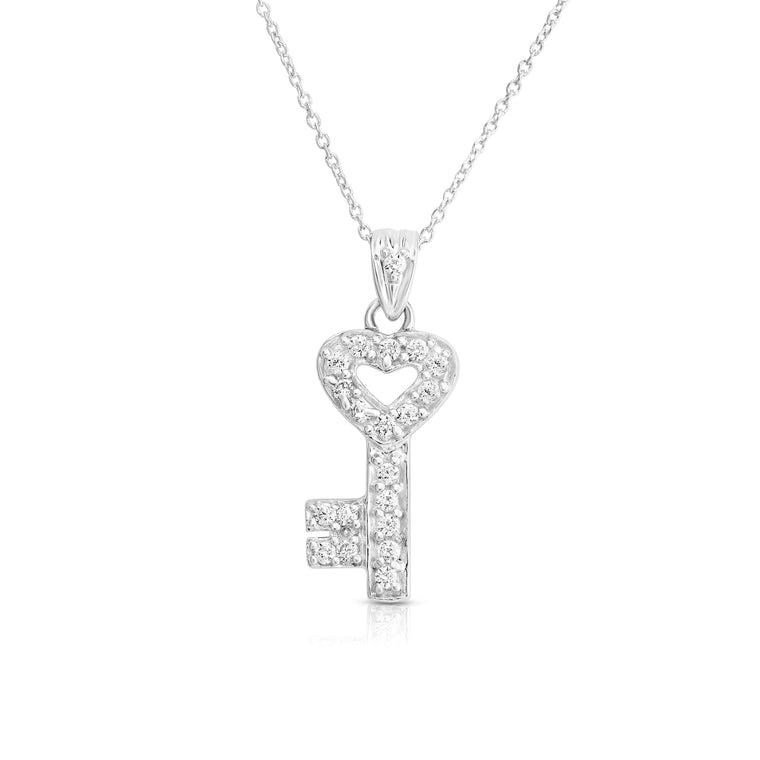 "Noray Designs 14k White Gold Diamond (0.22 Ct, G-H Color, SI2-I1 Clarity) Key Necklace, 18"" Gold Chain"