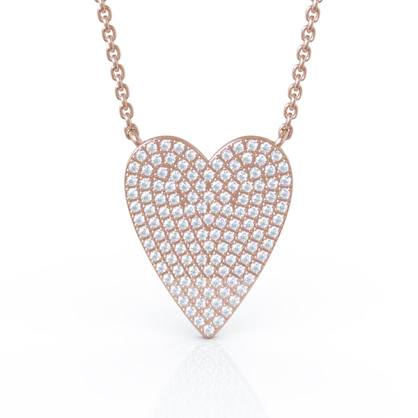 14K Gold Diamond (0.60 Ct, G-H Color, SI2-I1 Clarity) Large Heart Necklace