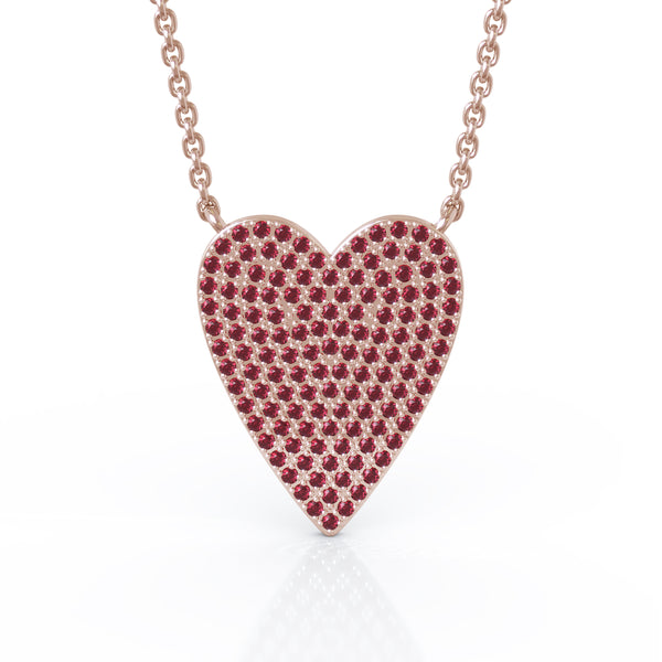 14K Gold Ruby (0.60 Ct, G-H Color, SI2-I1 Clarity) Large Heart Necklace