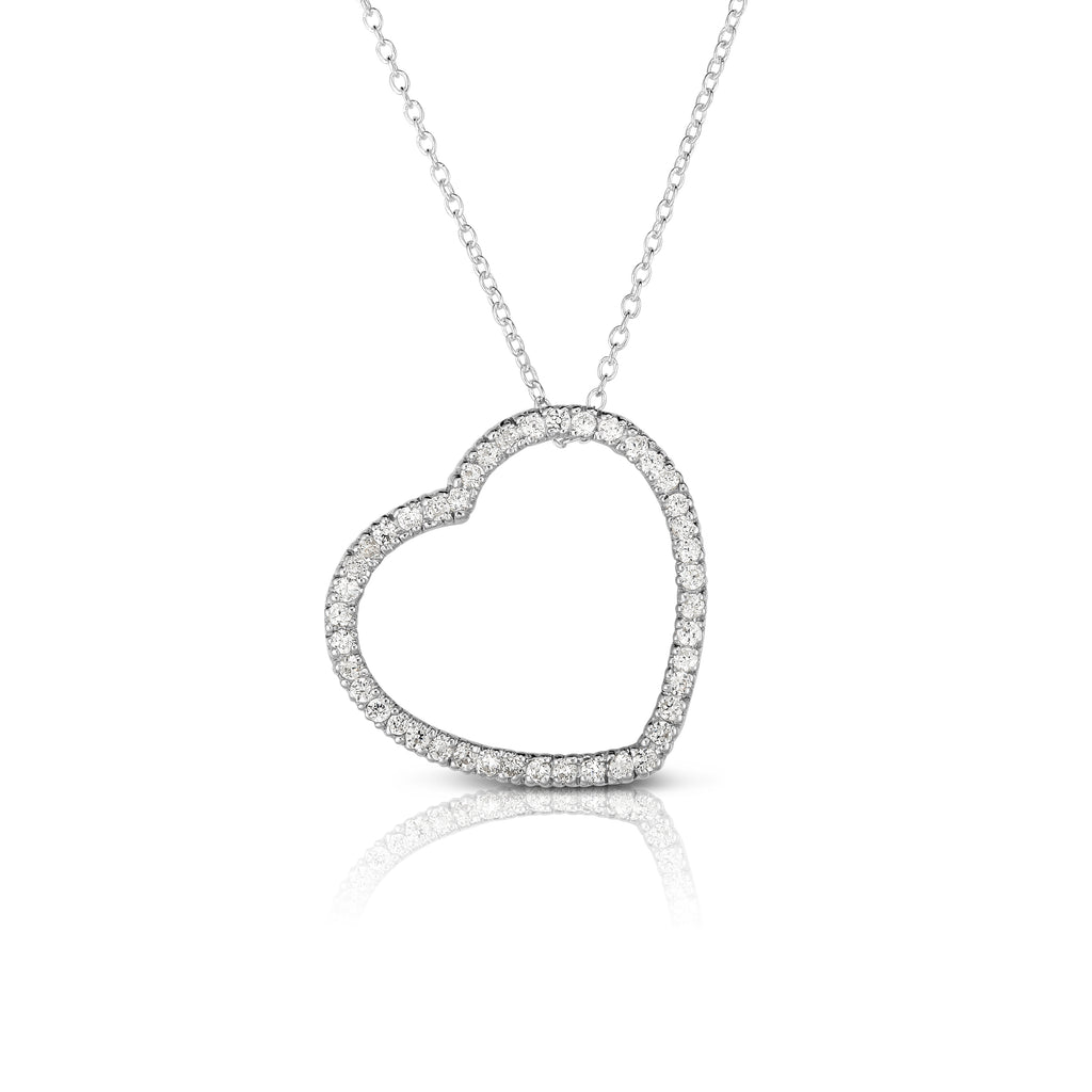 "14k Gold Diamond (1/2 Ct, G-H Color, SI2-I1 Clarity) Heart Pendant, 18"" Gold Chain"