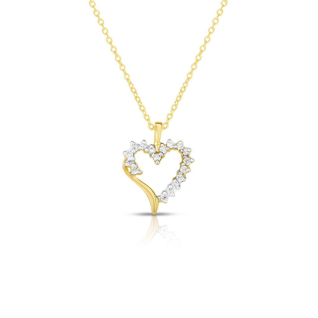 "14k Gold Diamond (0.22 Ct, G-H Color, SI2-I1 Clarity) Heart Pendant, 18"" Gold Chain"