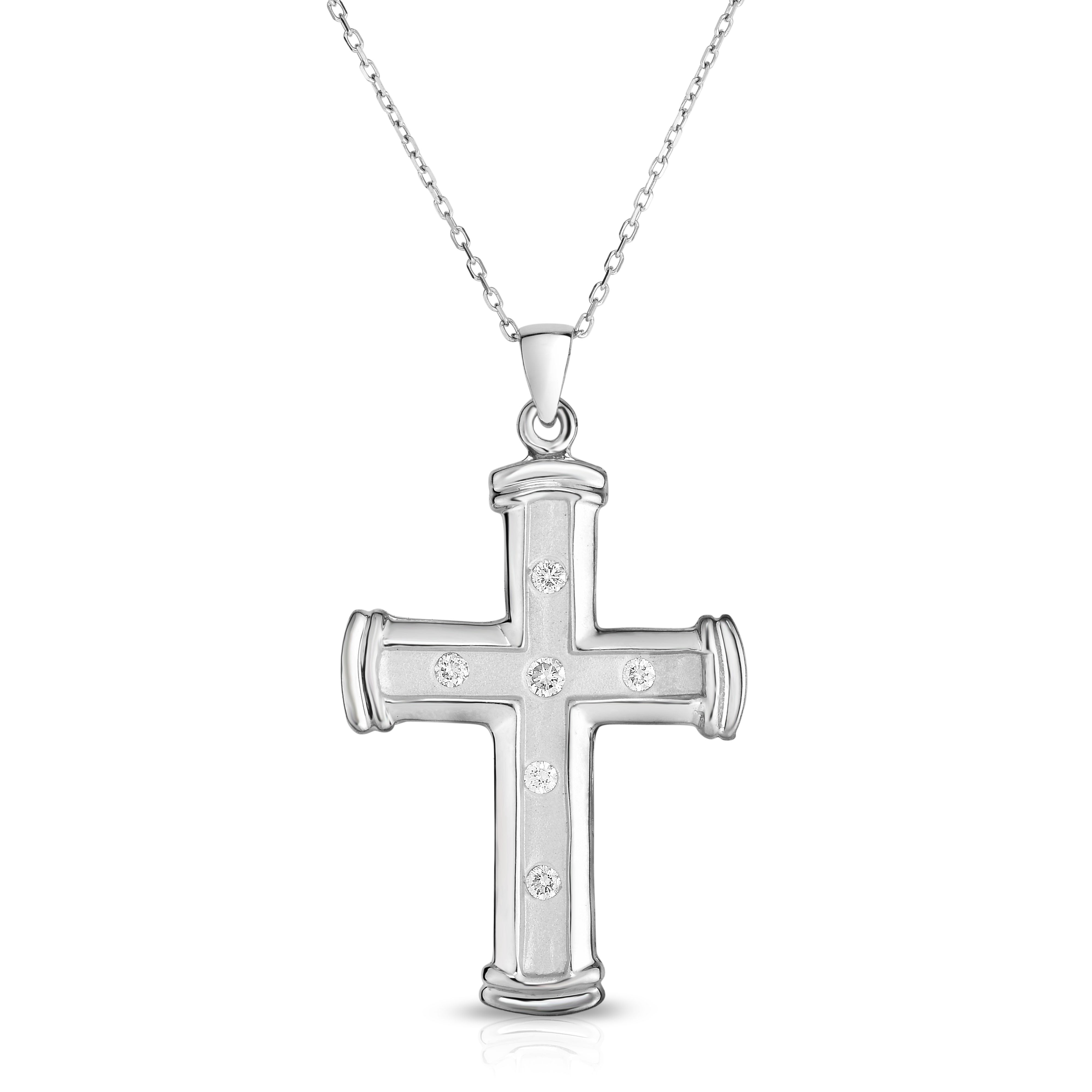 14k white gold diamond cross pendant 025 ct g h color si2 i1 14k white gold diamond cross pendant 025 ct g h color si2 i1 clarity with 18 gold chain mozeypictures Choice Image