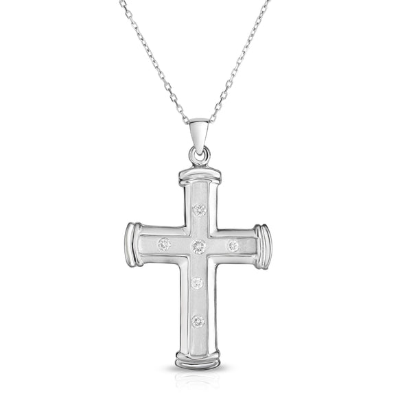 "14K White Gold Diamond Cross Pendant (0.25 Ct, G-H Color, SI2-I1 Clarity) With 18"" Gold Chain"