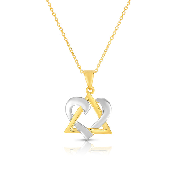 "Noray Designs 14k White & Yellow Gold David Heart Pendant, 18"" White Gold Chain"