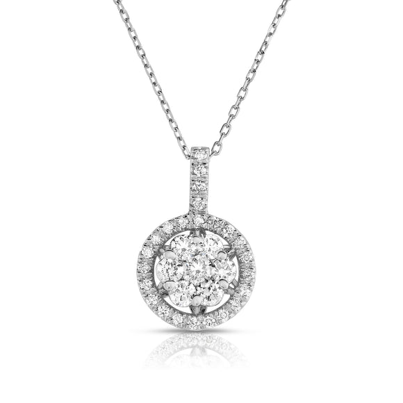 14K White Gold Diamond (0.90 Ct, G-H Color, SI2-I1 Clarity) Cluster Pendant