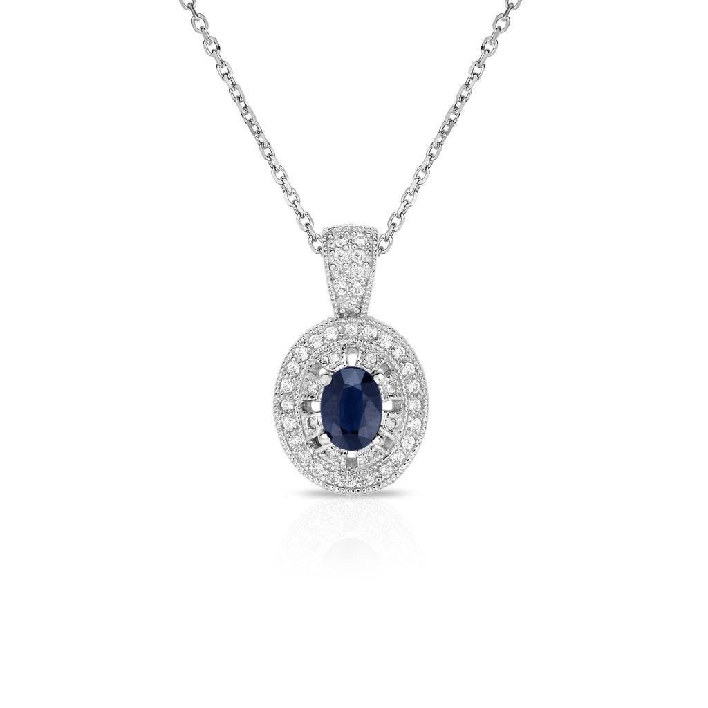 "14K White Gold Oval Blue Sapphire & Diamond (0.40 Ct, G-H Color, SI2-I1 Clarity) Pendant, 18"" Gold Chain"