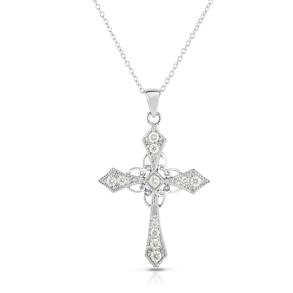 14k White Gold Diamond (0.40 Ct, G-H Color, SI2-I1 Clarity) Cross Pendant, 18
