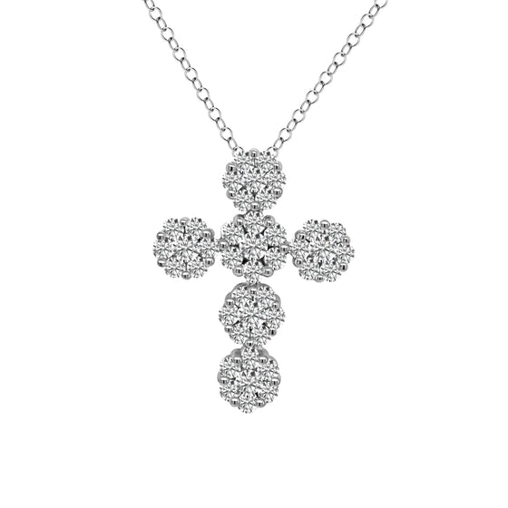 14K Gold Cluster Cross Pendant (1.50 Ct, G-H Color, SI2-I1)