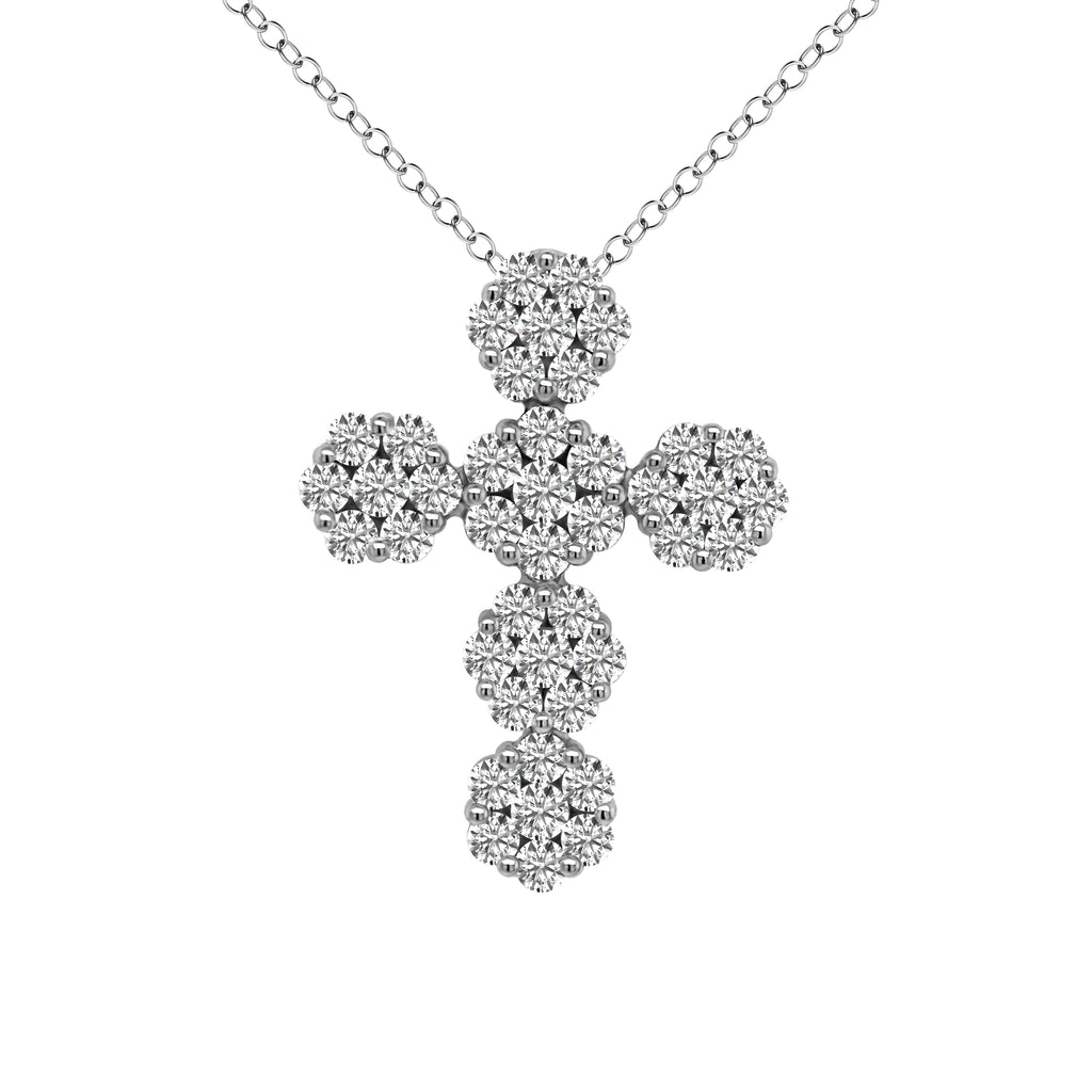 14K Gold Cluster Cross Pendant (2.85 Ct, G-H Color, SI2-I1)