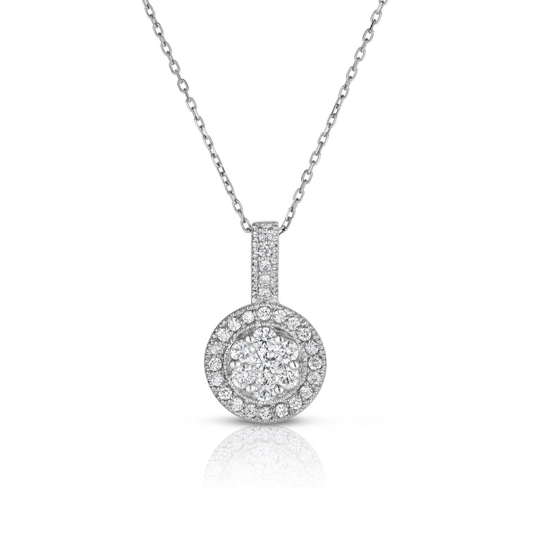 "14K White Gold Diamond (0.82 Ct, G-H Color, SI2-I1 Clarity) Cluster Pendant, 18"" Gold Chain"
