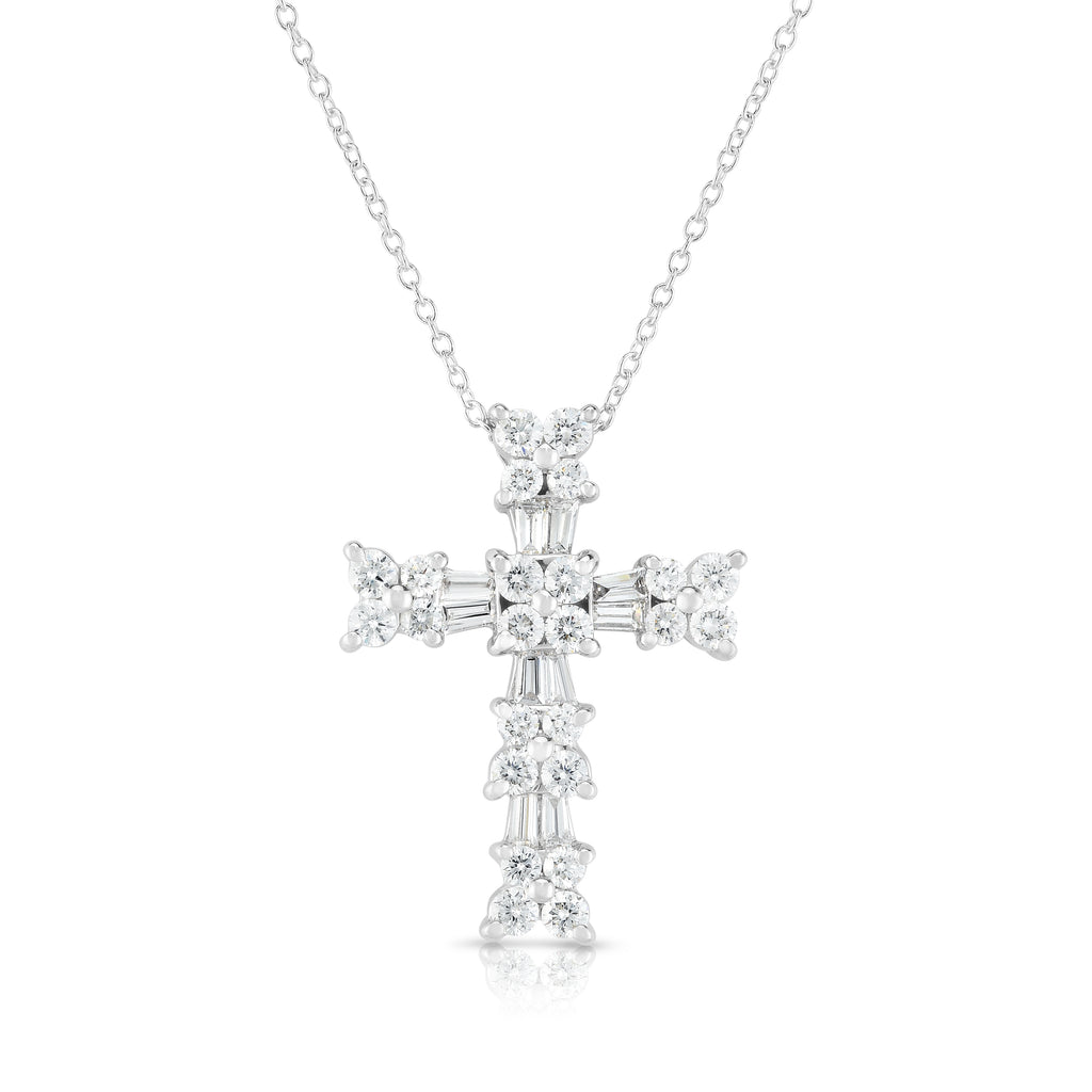 "14K White Gold Diamond (1.10 Ct, G-H Color, SI2-I1 Clarity) Cross Pendant With 18"" Gold Chain"