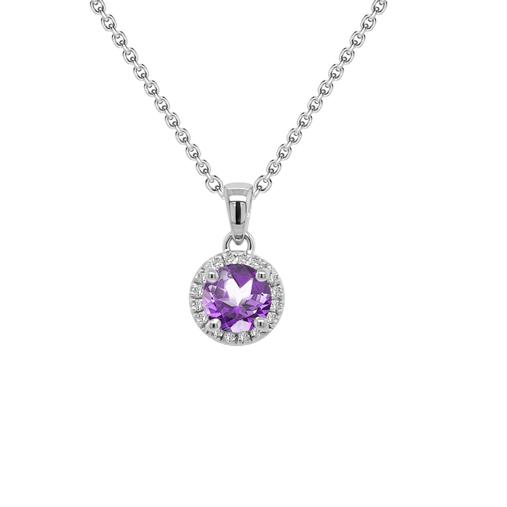 "14K Gold Amethyst & Diamond Halo Pendant, 18"" Gold Chain (0.15 Ct, G-H, SI2-I1)"