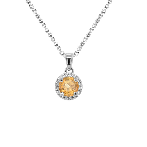 14K Gold Citrine & Diamond Halo Pendant, 18