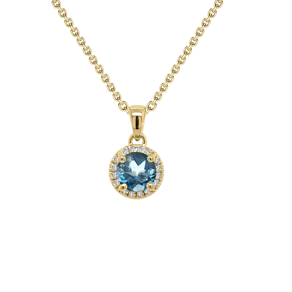 "14K Gold London Blue Topaz & Diamond Halo Pendant, 18"" Gold Chain (0.15 Ct, G-H, SI2-I1)"