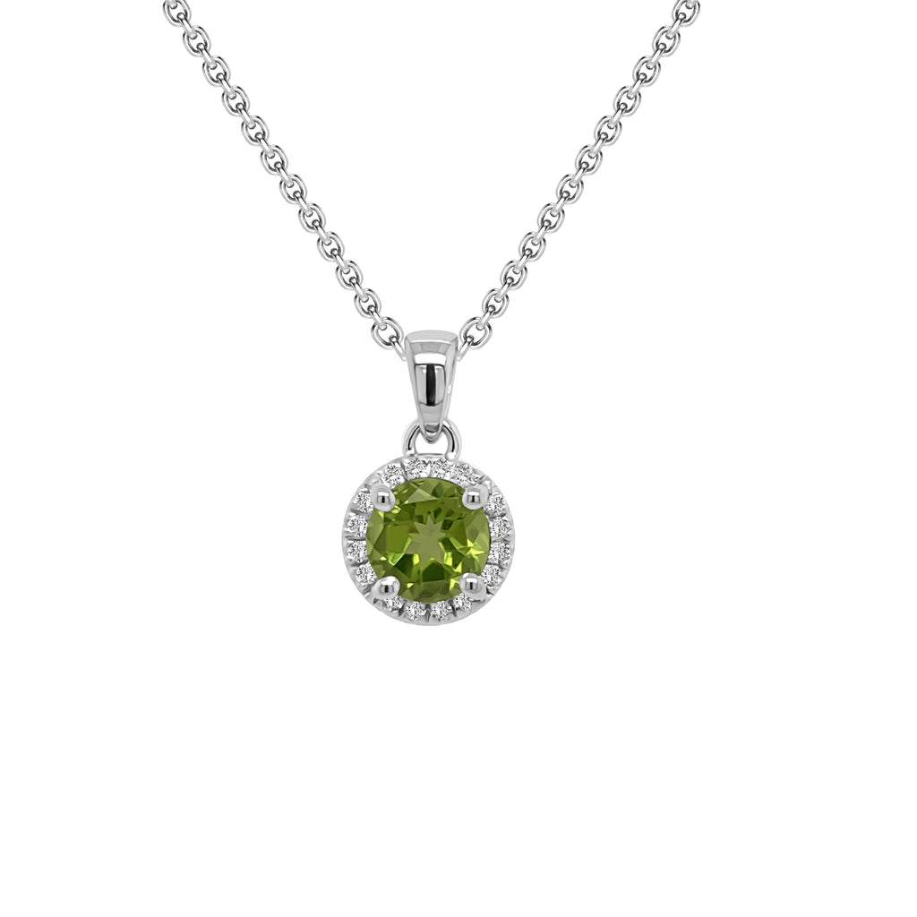 "14K Gold Peridot & Diamond Halo Pendant, 18"" Gold Chain (0.15 Ct, G-H, SI2-I1)"