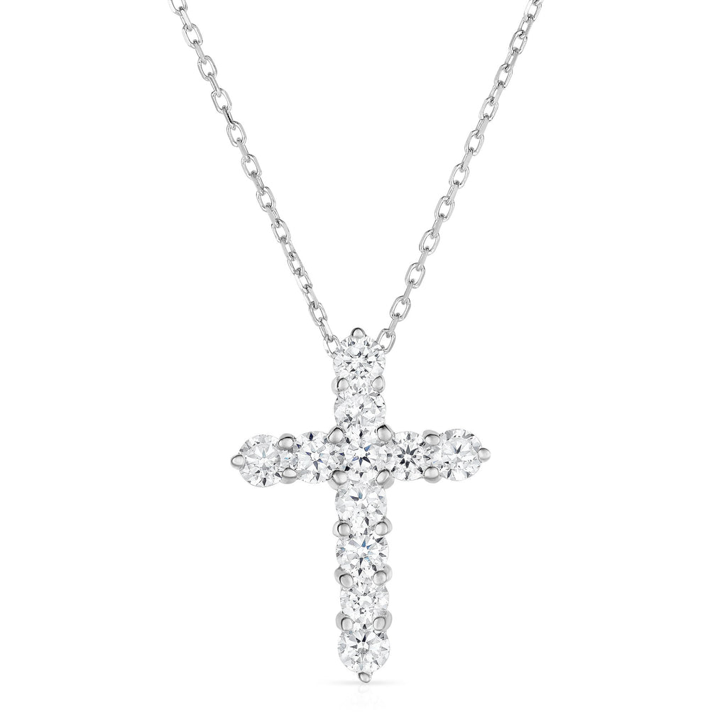 "14K White Gold Diamond (1.8 Ct, G-H Color, SI2-I1 Clarity) Cross Pendant With 18"" Gold Chain"