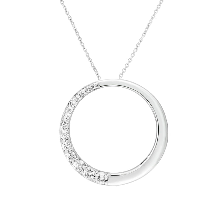 "Noray Designs 14k White Gold Diamond (0.42 Ct, G-H Color, SI2-I1 Clarity) Circle Necklace, 18"" Gold Chain"