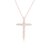 "14K Gold Diamond (0.68 Ct, G-H Color, SI2-I1 Clarity) Cross Pendant With 18"" Gold Chain"
