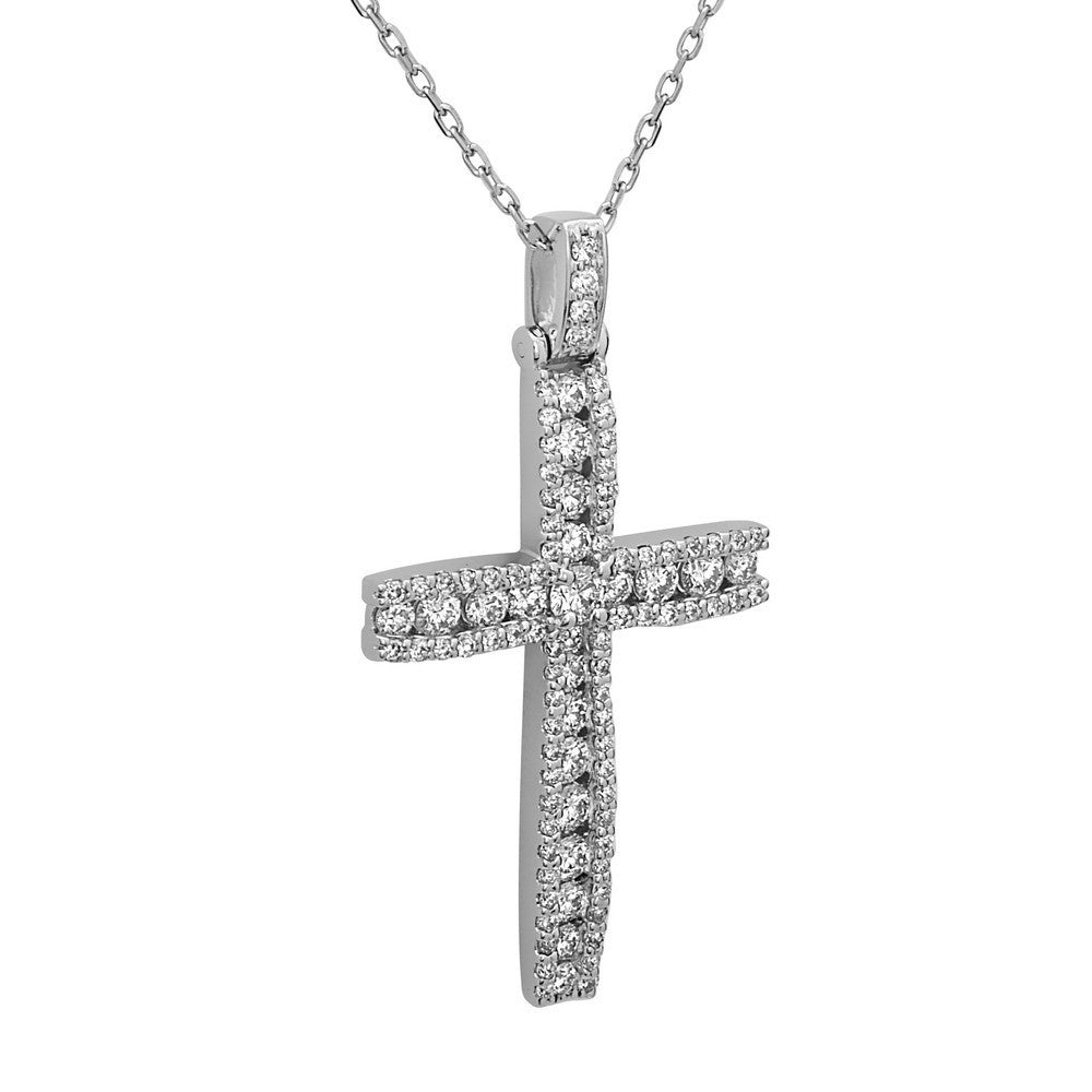 14k white gold diamond cross pendant 115 ct g h color si1 si2 14k white gold diamond cross pendant 115 ct g h color si1 si2 clarity 18 gold chain aloadofball Images