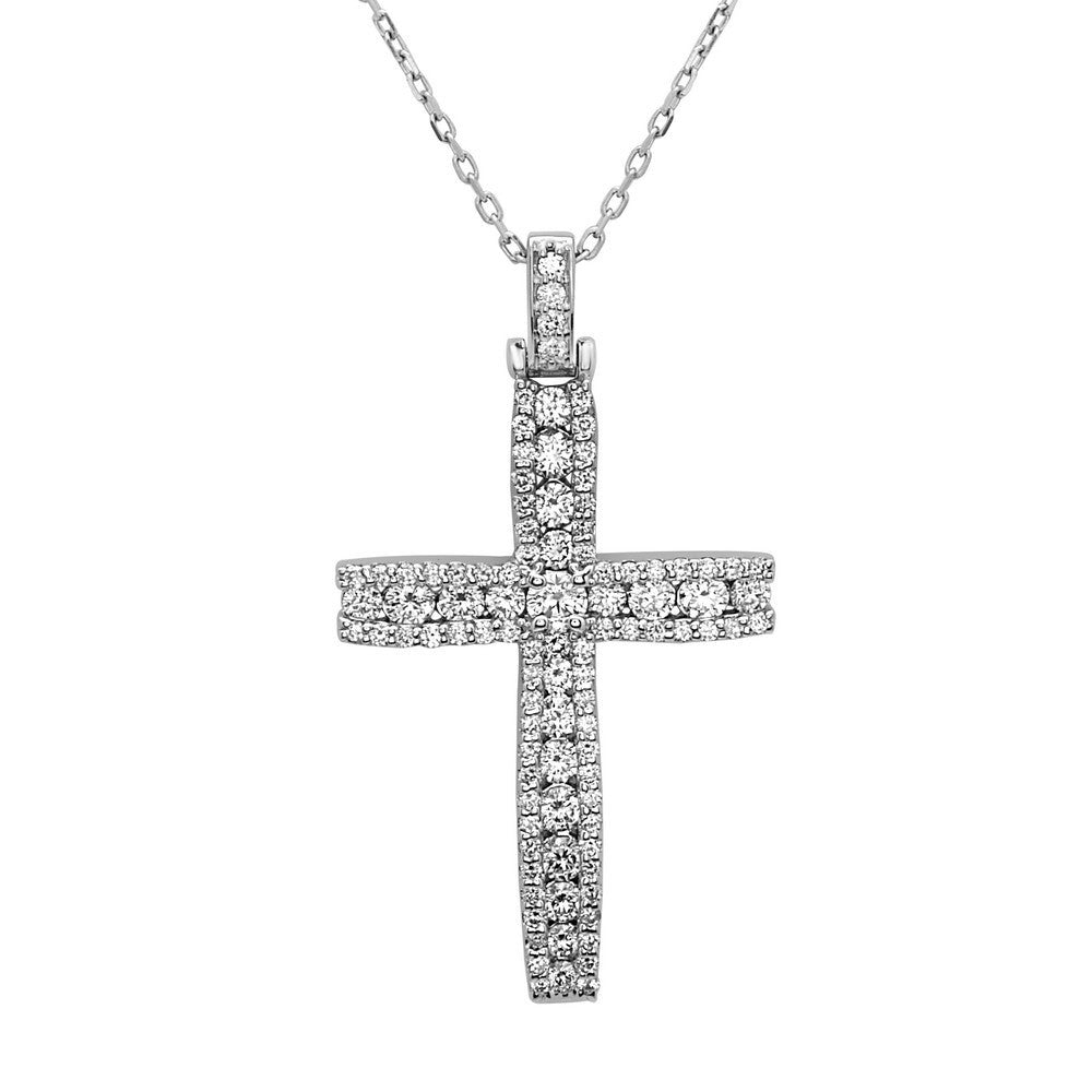 "14K White Gold Diamond Cross Pendant (1.15 Ct, G-H Color, SI1-SI2 Clarity), 18"" Gold Chain"