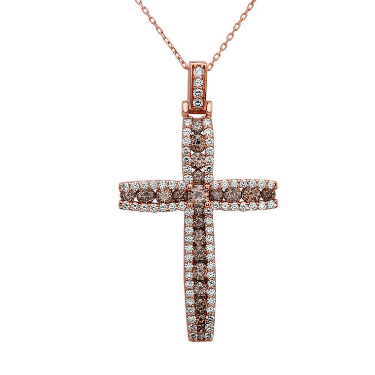 14K Rose Gold Champagne & White Diamond (3.40 Ct, G-H Color, SI2-I1 Clarity) Cross Pendant