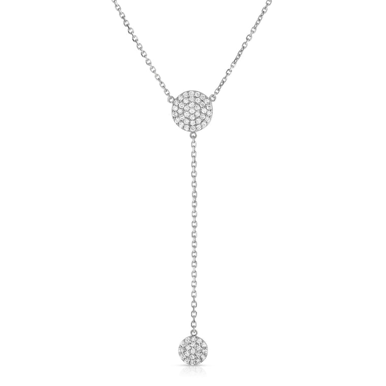 14K White Gold Diamond (0.50 Ct, G-H Color, SI2-I1 Clarity) Circle Drop Necklace