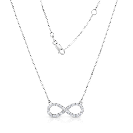 14K White Gold Diamond (0.60 Ct, I1-I2 Clarity, G-H Color) Infinity Necklace