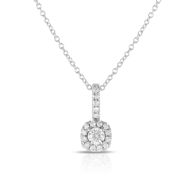 14K White Gold Diamond (0.28 Ct, G-H Color, SI2-I1 Clarity) Petite Pendant