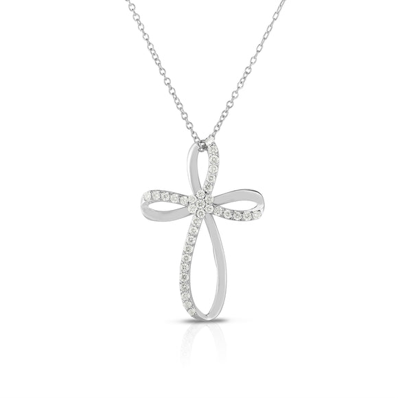 "14k White Gold Diamond (0.35 Ct, G-H Color, SI2-I1 Clarity) Cross Pendant, 18"" Gold Chain"