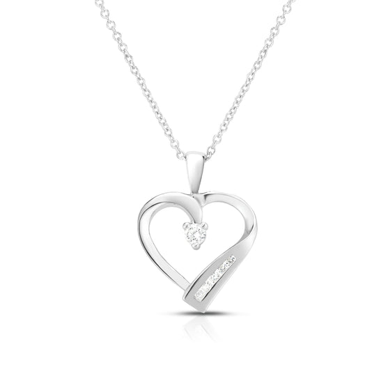 "14k Gold Diamond (0.12 Ct, G-H Color, SI2-I1 Clarity) Heart Pendant, 18"" Gold Chain"