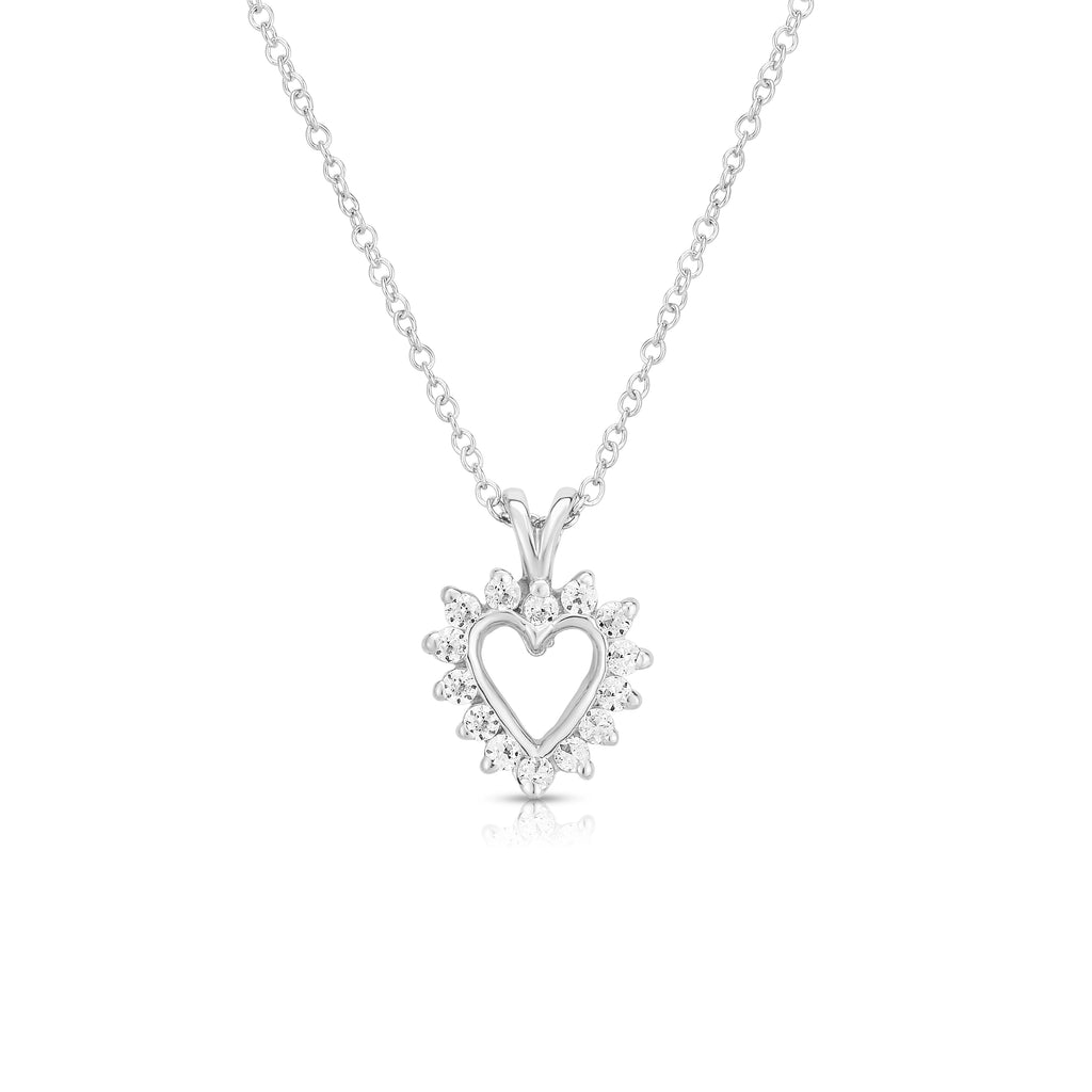 "14k Gold Diamond (0.45 Ct, G-H Color, SI2-I1 Clarity) Heart Pendant, 18"" Gold Chain"