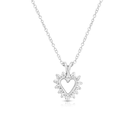 "14k Gold Diamond (0.18 Ct, G-H Color, SI2-I1 Clarity) Heart Pendant, 18"" Gold Chain"