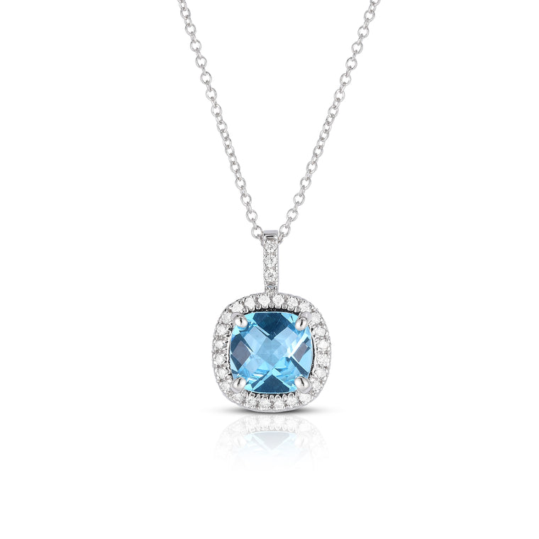 14K White Gold Blue Topaz & Diamond (0.20 Ct, G-H Color, SI2-I1 Clarity) Pendant