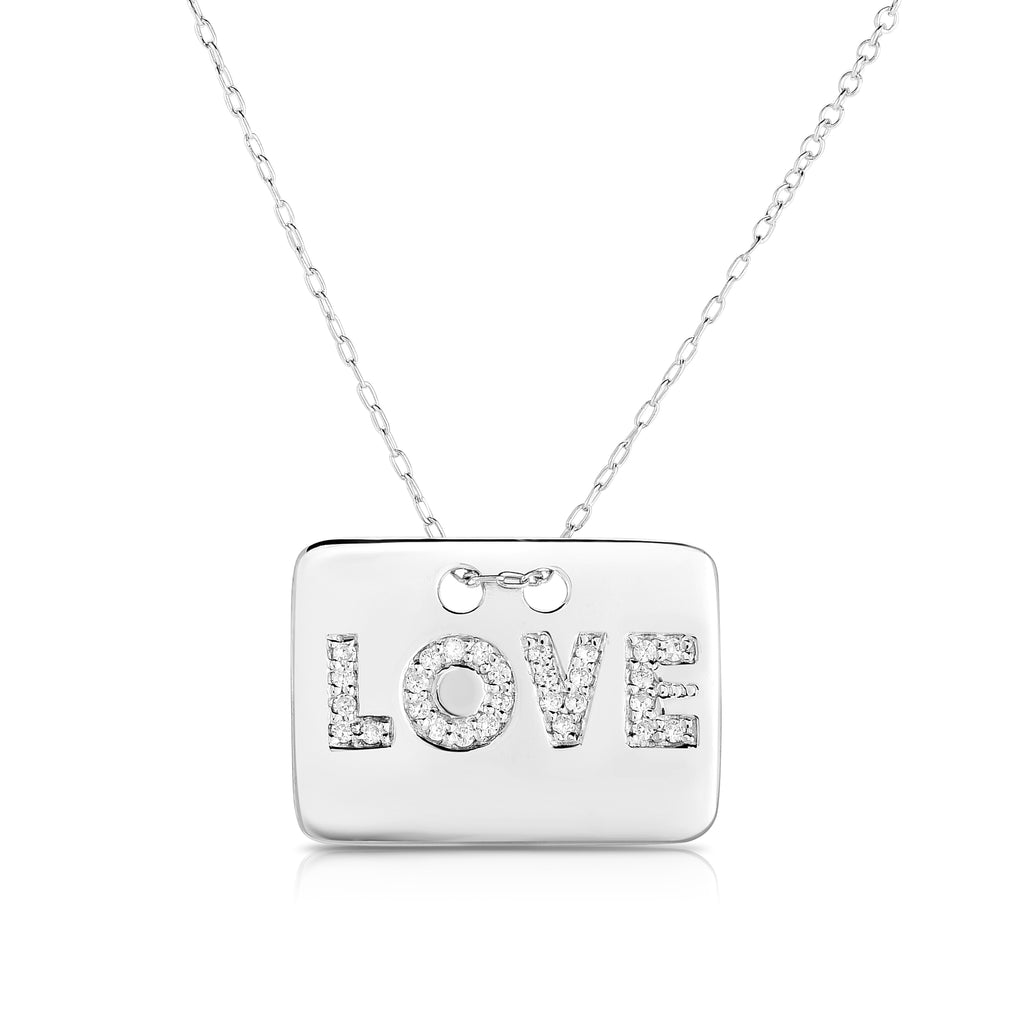 "14K White Gold Diamond (0.16 Ct, SI2-I1 Clarity, G-H Color) ""LOVE"" Disc Necklace, with 18"" Gold Chain"