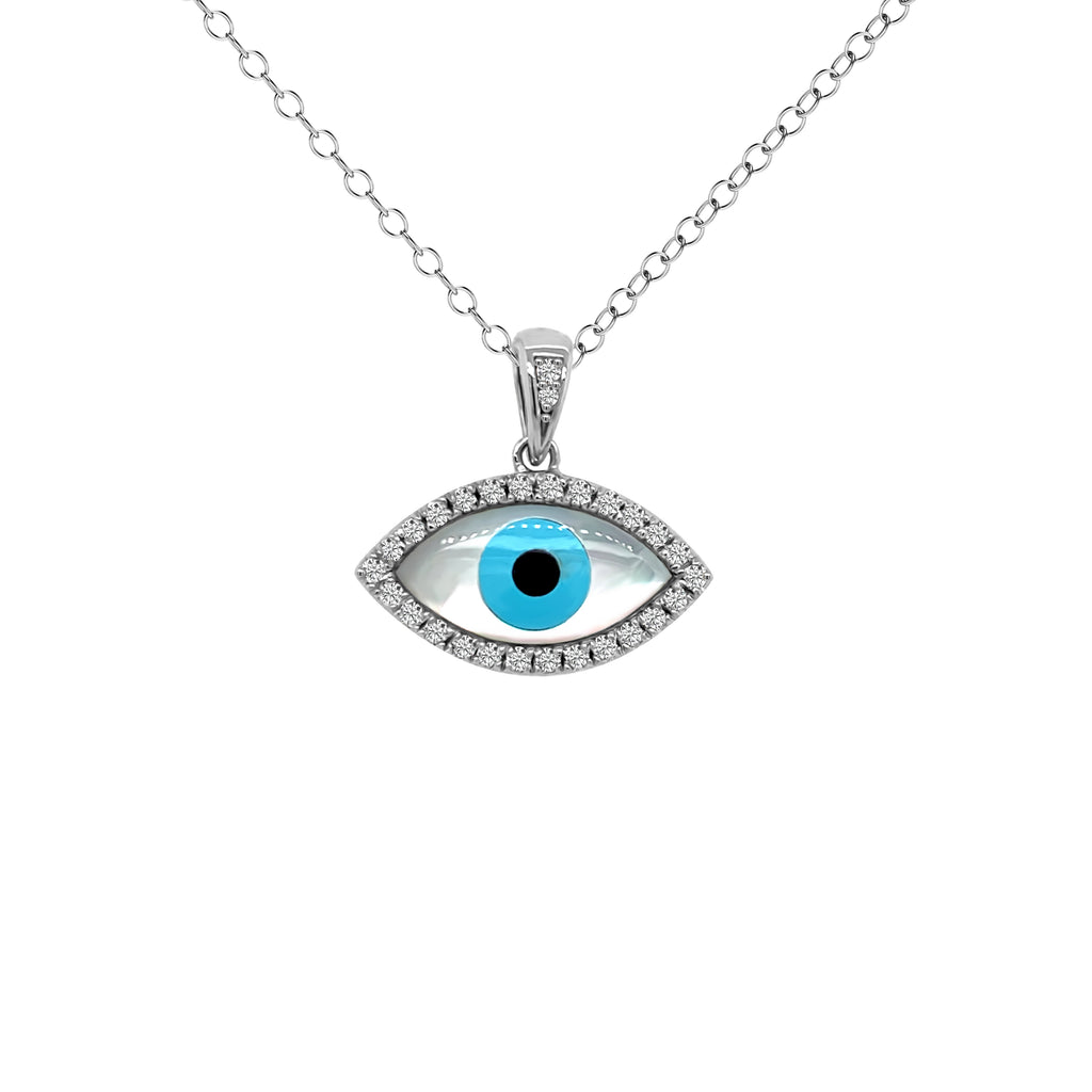 white gold evil eye necklace with diamonds