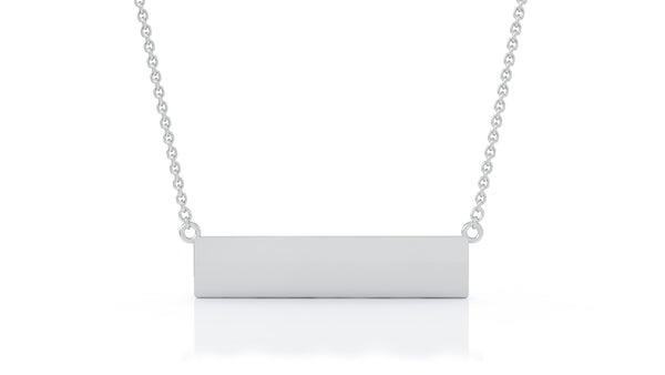 14K Gold Engravable Bar Necklace, 17