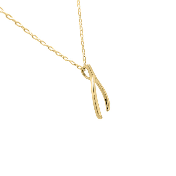 "14K Gold Wishbone Necklace, 17""-18"""