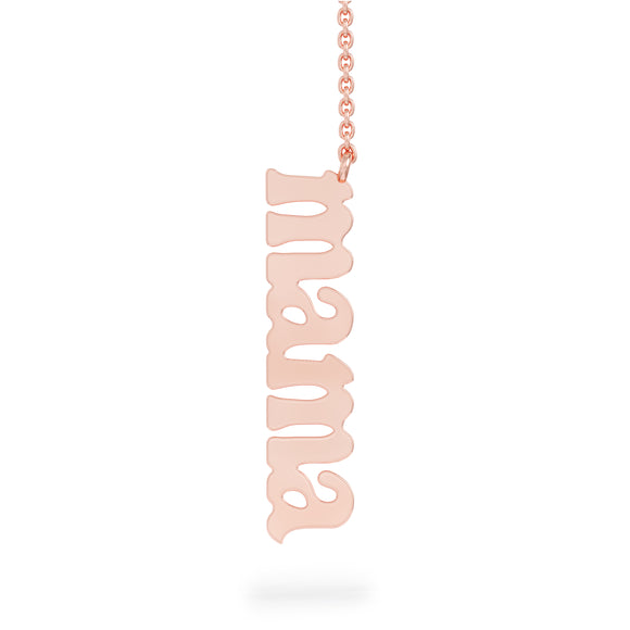 "14K Gold ""Mama"" Vertical Necklace, 17""-18"""