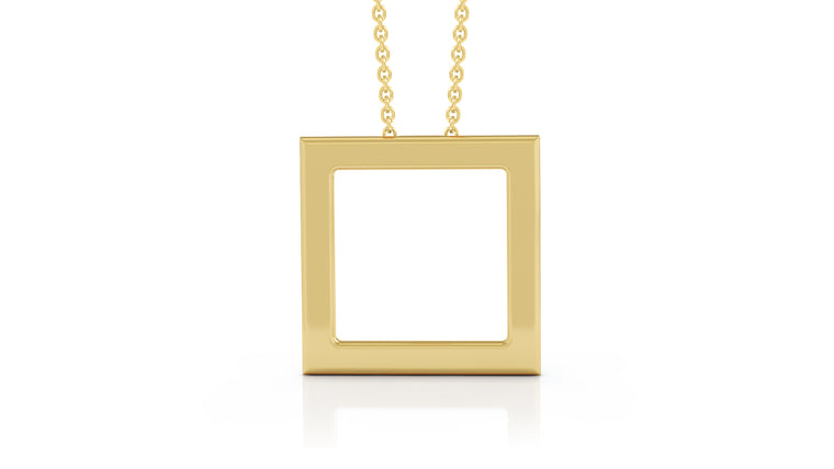 "14K Gold Square Necklace, 16""-18"""