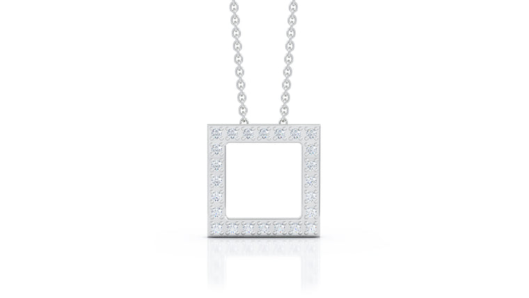 "14K Gold Diamond Square Pendant, 16""-18"" (0.25 Ct, G-H Color, SI2-I1 Clarity)"