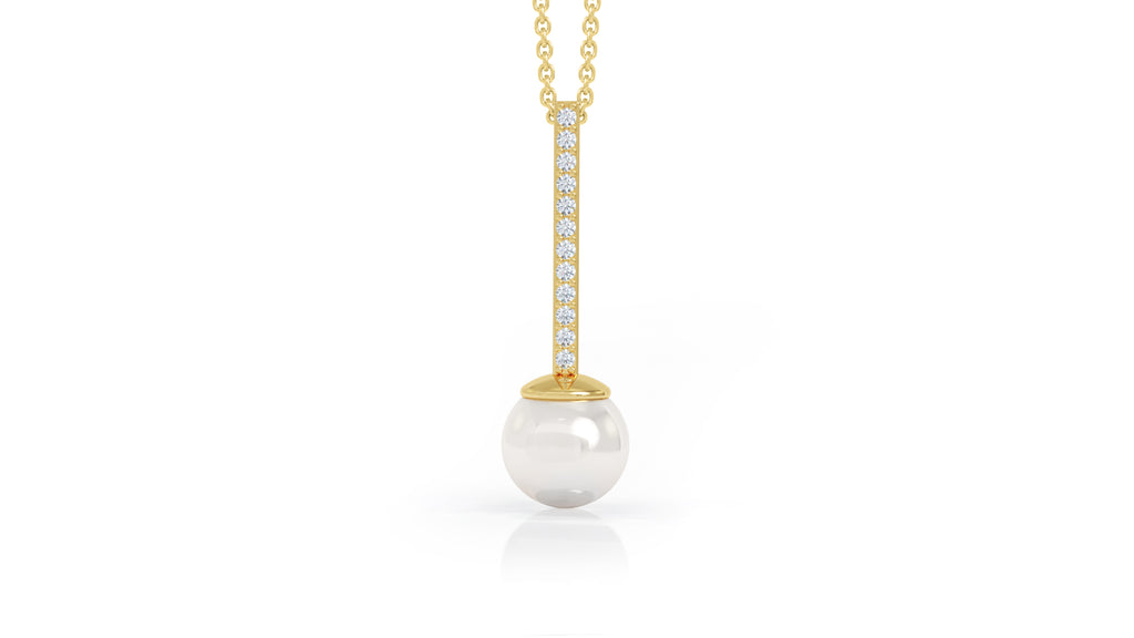 "14K Gold 8MM Pearl & Diamond Pendant, 17""-18"" (0.10 Ct, G-H Color, SI2-I1 Clarity)"