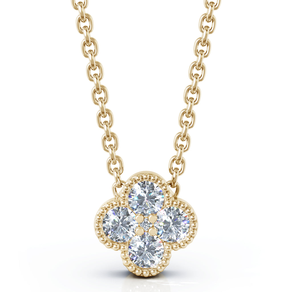 14K Gold Diamond (0.25 Ct, G-H Color, SI2-I1 Clarity) Antique Design Flower Necklace