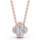 14K Gold Diamond (0.40 Ct, G-H Color, SI2-I1 Clarity) Antique Design Flower Necklace