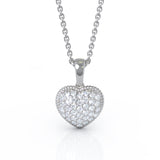 "14K Gold Diamond Heart Pendant, 18"" Gold Chain (0.50 Ct, G-H Color, I1-I2 Clarity)"