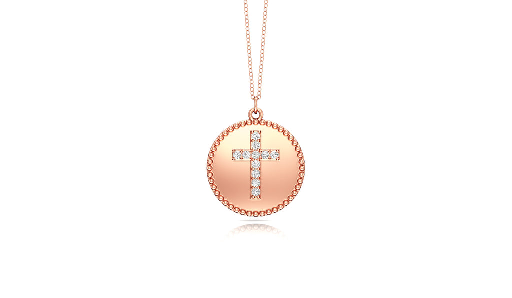 "14K Gold Diamond (0.08 Ct, G-H Color, SI2-I1 Clarity) Cross Disc Pendant, 18"" Gold Chain"