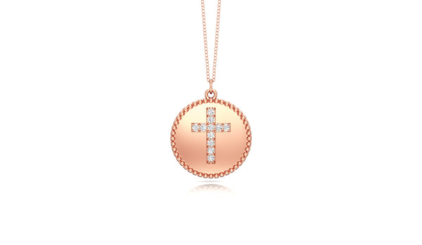 14K Gold Diamond (0.08 Ct, G-H Color, SI2-I1 Clarity) Cross Disc Pendant, 18