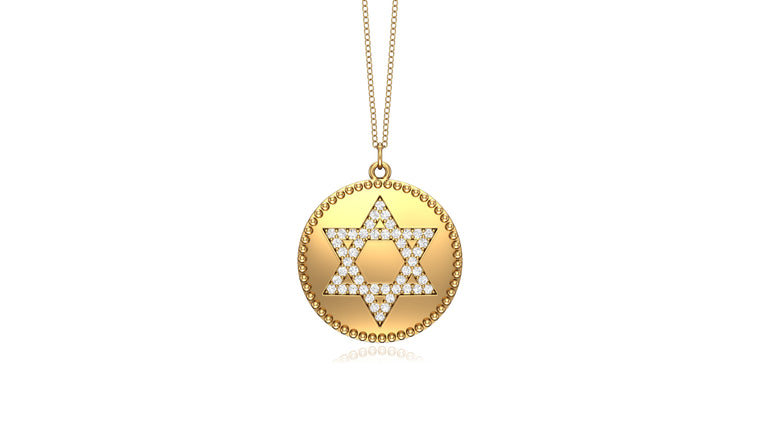 "14K Gold Diamond (0.24 Ct, G-H Color, SI2-I1 Clarity) David's Star Disc Pendant, 18"" Gold Chain"